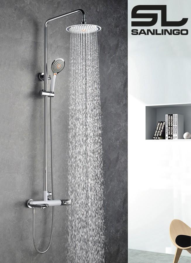Duschset Duschsystem Komplett Dusche Badewanne Armatur Chrom Weiß Weiss Wanneneinlauf Sanlingo ...