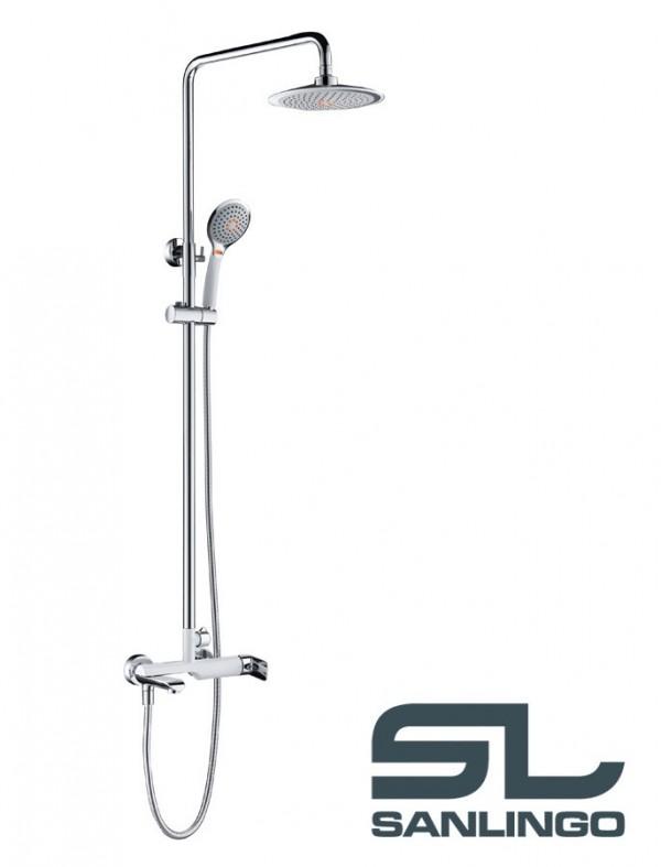 duschset duschsystem komplett dusche badewanne armatur chrom wei weiss wanneneinlauf sanlingo. Black Bedroom Furniture Sets. Home Design Ideas